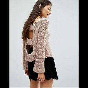 """Free People """"Endless Stories"""" Cut Out Back Sweater"""
